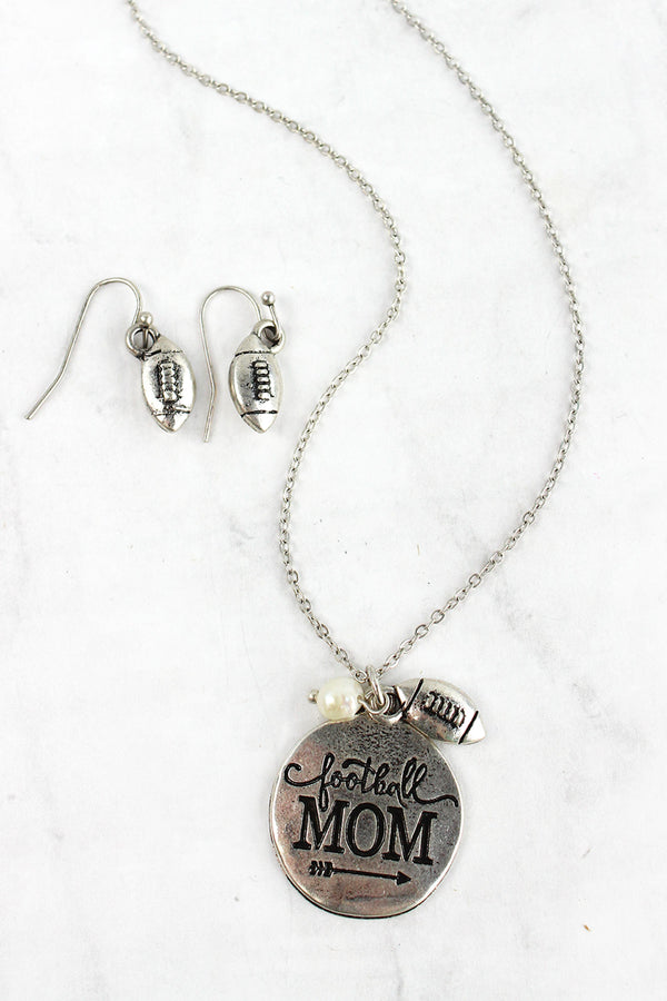 Burnished Silvertone 'Football Mom' Necklace and Earring Set