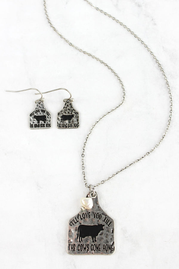 Burnished Silvertone 'Till The Cows Come Home' Necklace and Earring Set