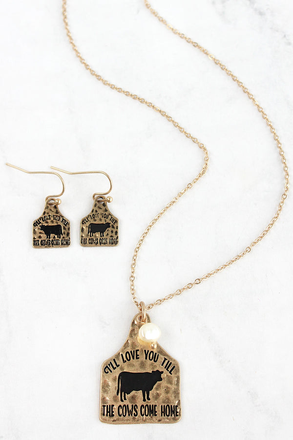 Worn Goldtone 'Till The Cows Come Home' Necklace and Earring Set