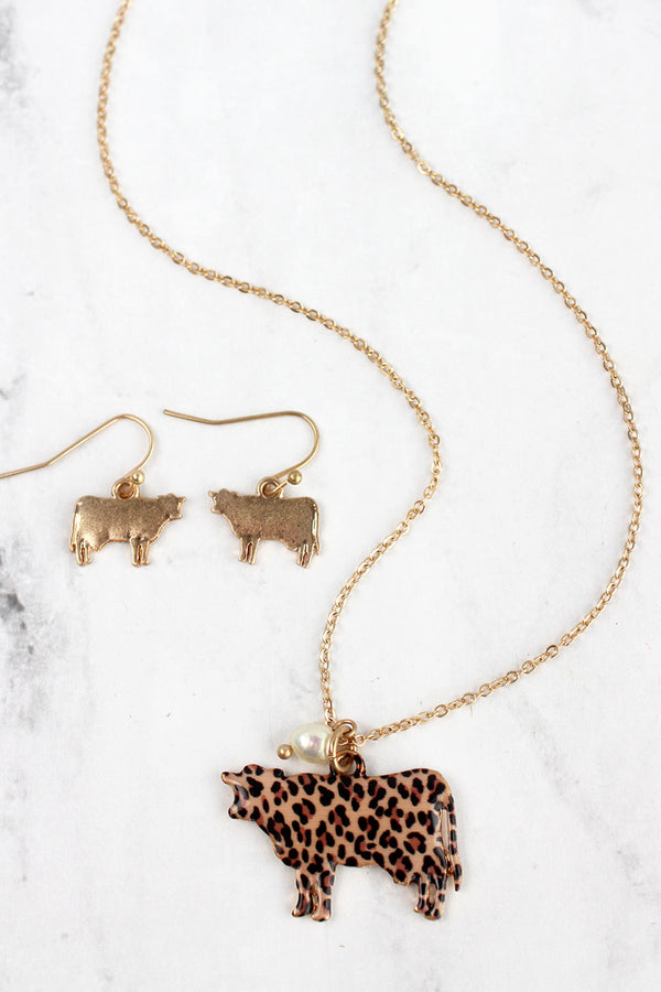 Leopard Print Cow Goldtone Necklace and Earring Set