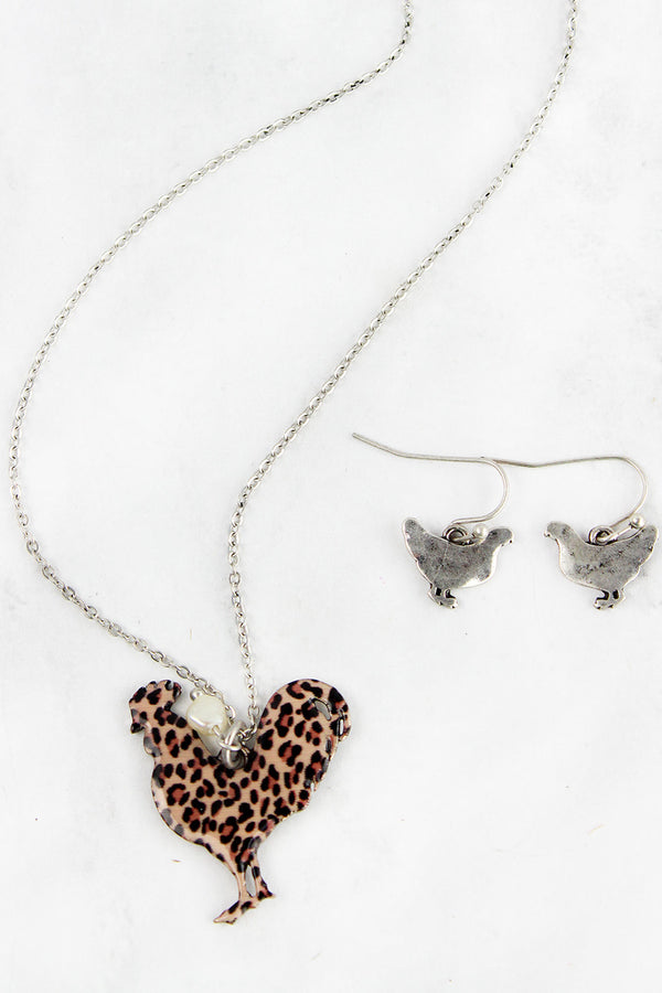 Leopard Print Rooster Silvertone Necklace and Earring Set