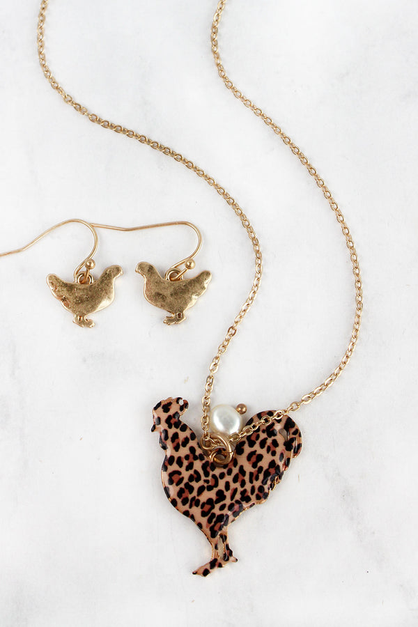 Leopard Print Rooster Goldtone Necklace and Earring Set