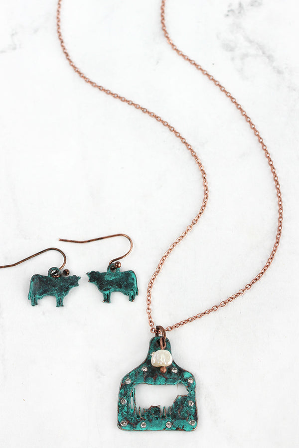 Patina Cut-Out Cow Ear Tag Coppertone Necklace and Earring Set