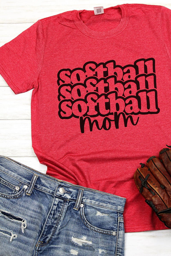 Stacked Softball Mom Softstyle Adult T-Shirt