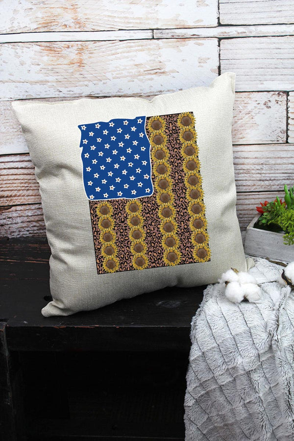 Sunflower American Flag Decorative Pillow Cover