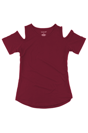 Boxercraft Cold Shoulder Tee, Maroon