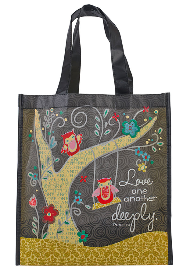 1 Peter 4:8 Love One Another Deeply Owl Tote Bag