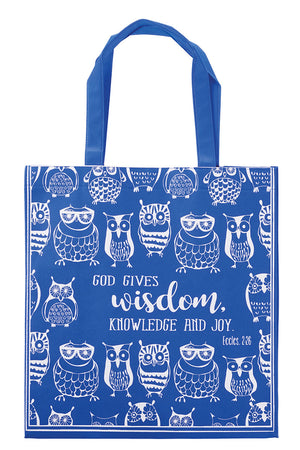 Ecclesiastes 2:26 'God Gives Wisdom' Owl Tote Bag