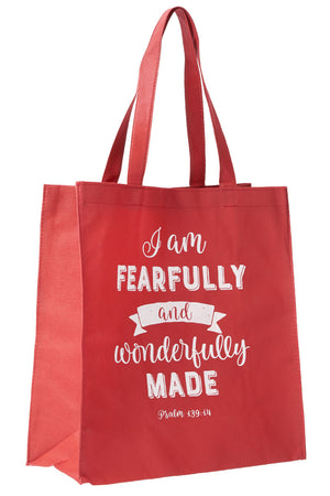 Psalm 139:14 'Fearfully and Wonderfully Made' Red Tote Bag