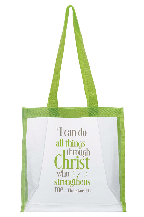 All Things Through Christ Clear Tote Bag