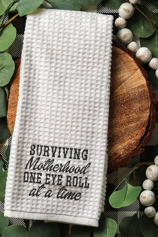 Surviving Motherhood Waffle Kitchen Towel