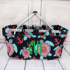 Preppy Under the Sea Collapsible Market Basket #TUL696-NAVY