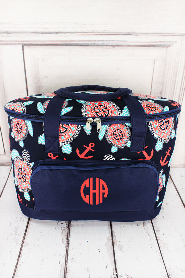 Preppy Under the Sea and Navy Cooler Tote with Lid #TUL89-NAVY