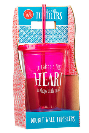 Pink 'Takes a Big Heart' Teacher Blessings Double Wall Tumbler