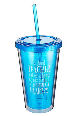 Blue 'Touches a Heart' Teacher Blessings Double Wall Tumbler