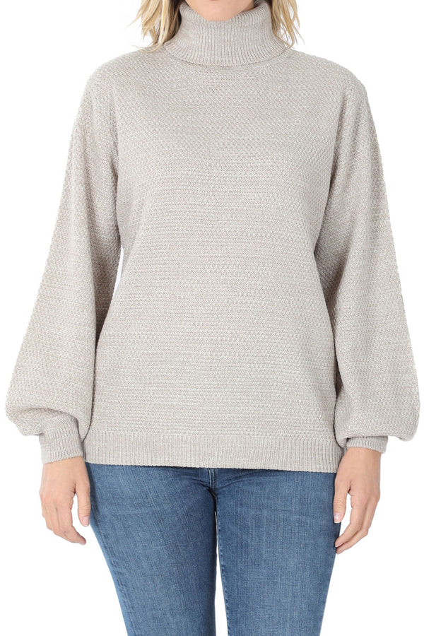 Light Gray Melange Balloon Sleeve Turtleneck Sweater