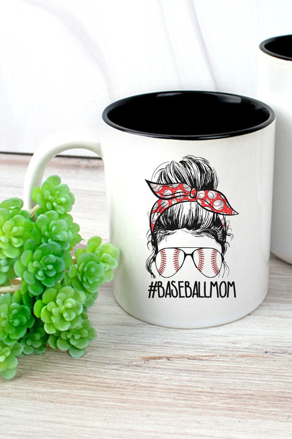 Messy Bun Baseball Mom Two-Tone Mug