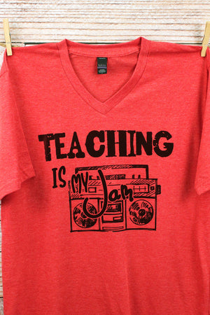 Teaching Is My Jam Unisex Poly-Rich Blend V-Neck Tee