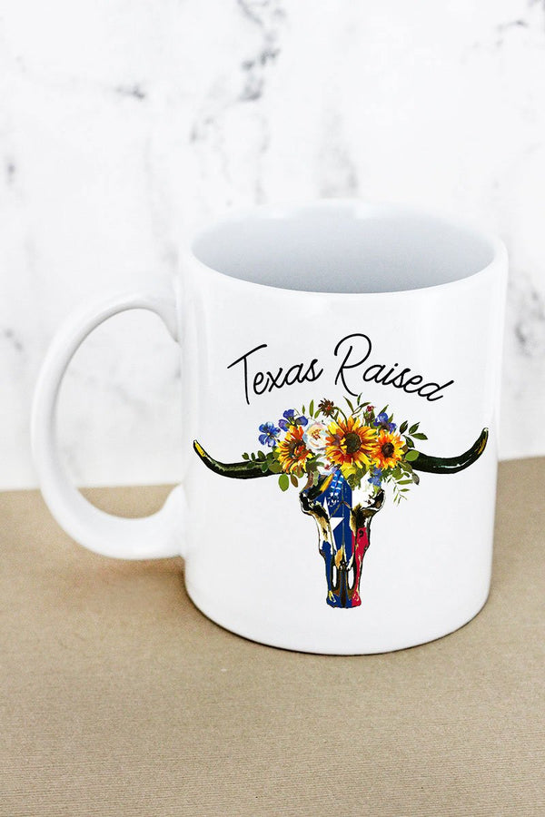 Texas Raised Steer White Mug