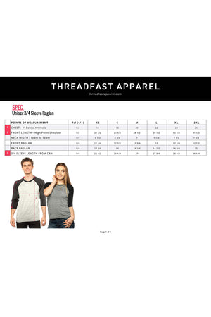 Threadfast Unisex Triblend 3/4-Sleeve Raglan, Gray/Red Triblend *Personalize It