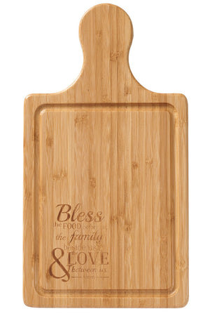 Bless the Food Bamboo Cutting Board with Handle