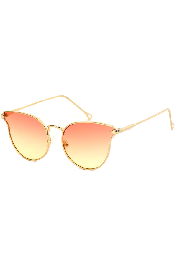 Orange and Yellow Mirror Lens Cat Eye Sunglasses