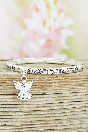 Bright Silvertone Teacher's Blessing Stretch Bracelet with Angel Charm