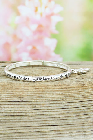 Silvertone 'Mom's Blessing' Stretch Bangle with Angel Charm