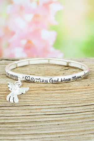Silvertone 'Mom's Blessing' Stretch Bangle with Angel Charm #AB2872LF-AS