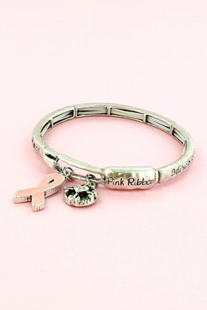 Pink Ribbon 'Inspire Hope' Two-Tone Stretch Bangle with Charms