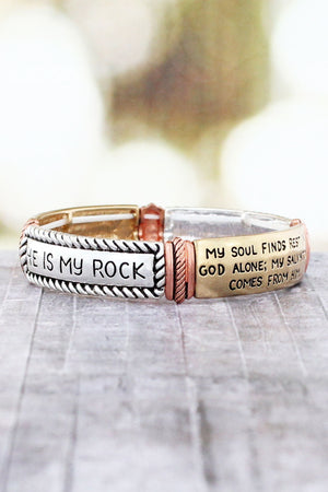 Worn Tri-Tone Psalm 62:1-2 Stretch Bracelet #AB8587-W3T