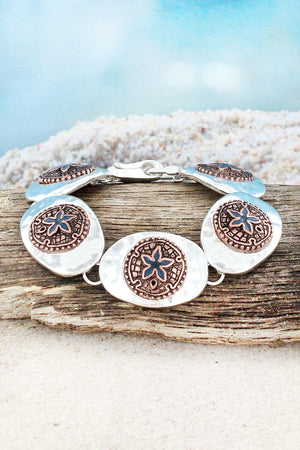 Sand Dollar with Ocean Blue Starfish Oval Disk Magnetic Bracelet #AB8853-TTM