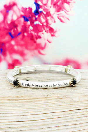 Matte Two-Tone and Black Crystal 'Teacher's Blessing' Stretch Bracelet