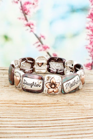 Tri-Tone and Patina Mother & Daughter Stretch Bracelet