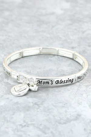 Antique Silvertone 'Mom's Blessing' Stretch Bracelet with Heart Charms