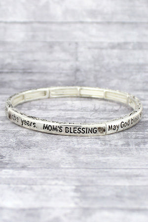Antique Silvertone 'Mom's Blessing' Stretch Bracelet