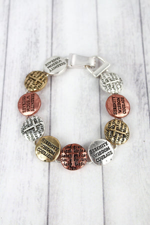 Worn Tri-Tone 'Serenity Wisdom Courage' Disk Magnetic Bracelet
