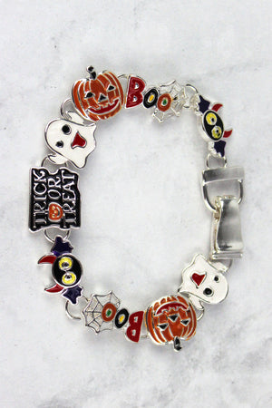 Halloween Themed Silvertone Magnetic Bracelet