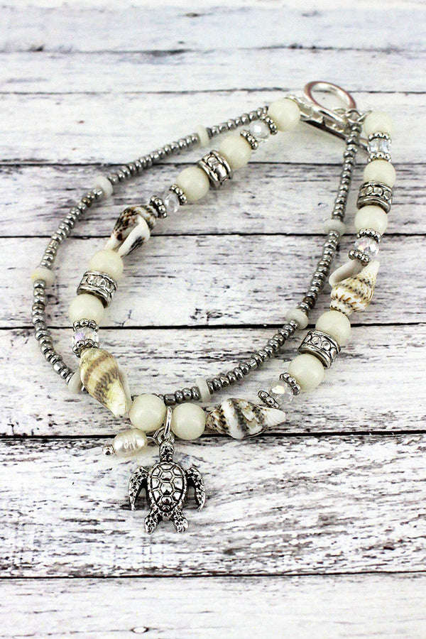 Silvertone and White Shell Beaded Turtle Charm Toggle Bracelet