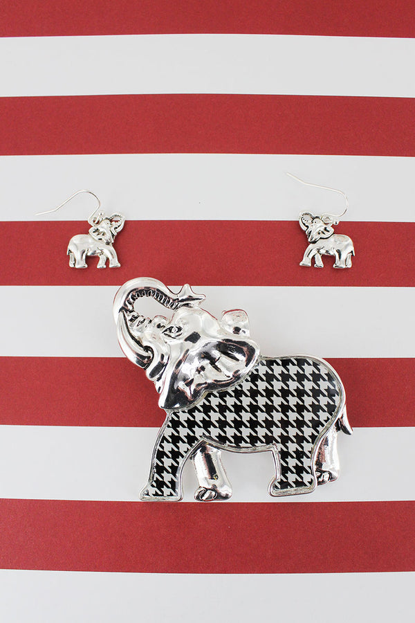 Silvertone and Houndstooth Elephant Pendant and Earrings Set