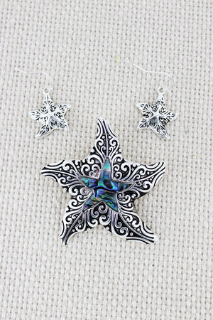 Silvertone Scroll and Abalone Starfish Pendant and Earrings Set