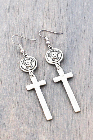 Worn Silvertone Bullet and Cross Earrings