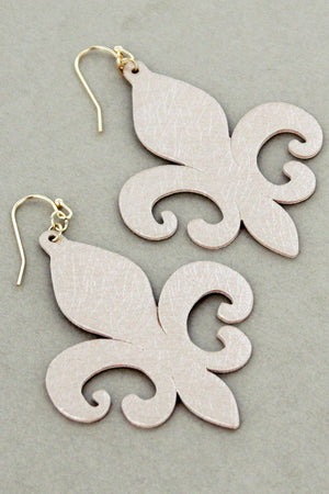 Ivory Faux Textured Leather Fleur de Lis Earrings