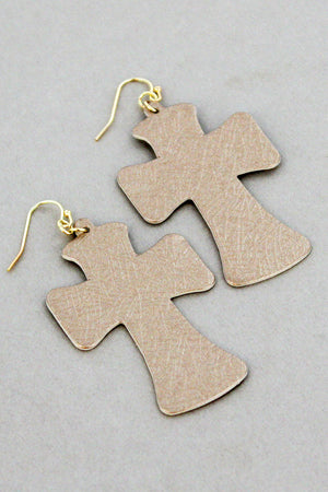 Gold Faux Textured Leather Cross Earrings