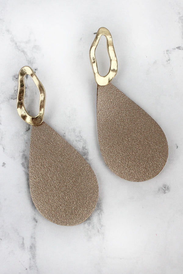 Gold Faux Leather Geo Teardrop Earrings