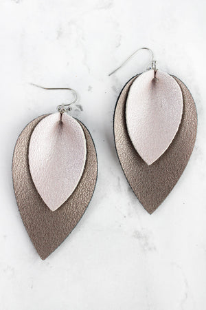 Silver and Hematite Layered Faux Leather Petal Earrings