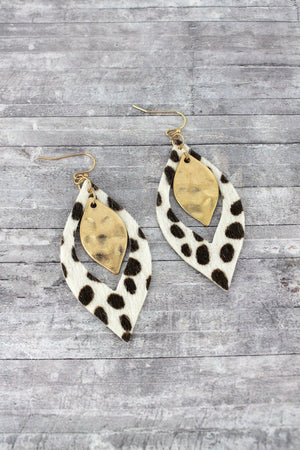 Ivory Cheetah and Goldtone Layered Marquise Earrings