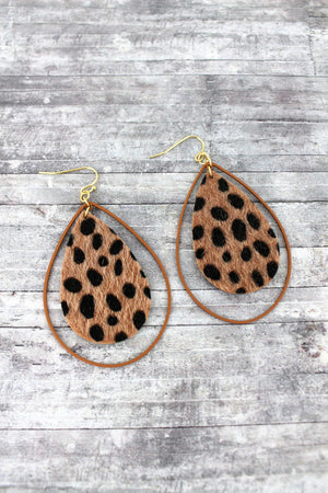 Dark Brown Cheetah Double Teardrop Earrings