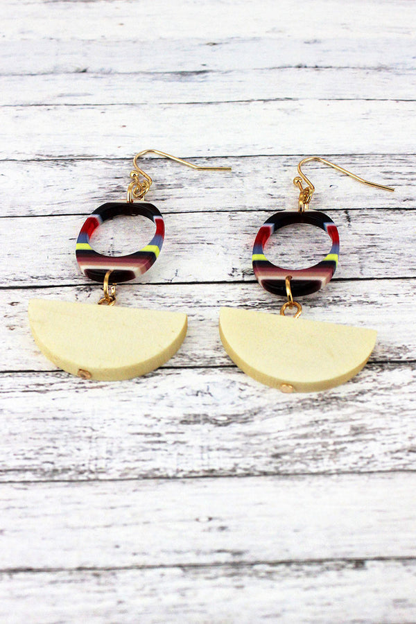 Multi-Stripe Cut Out Oval and Wood Half Moon Earrings