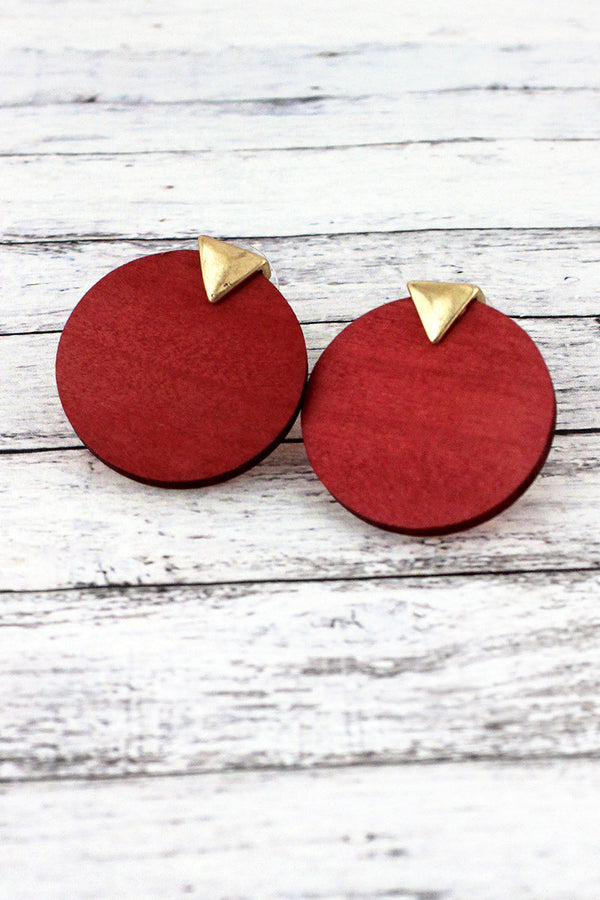 Goldtone and Coral Wood Triangle Disk Earrings